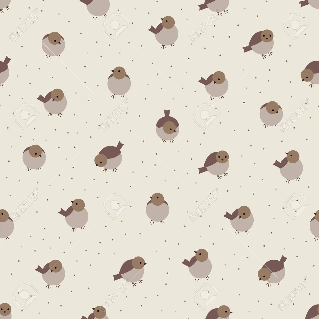 Cute Cartoon Birds Sparrow Beige Brown Seamless Pattern Wallpaper