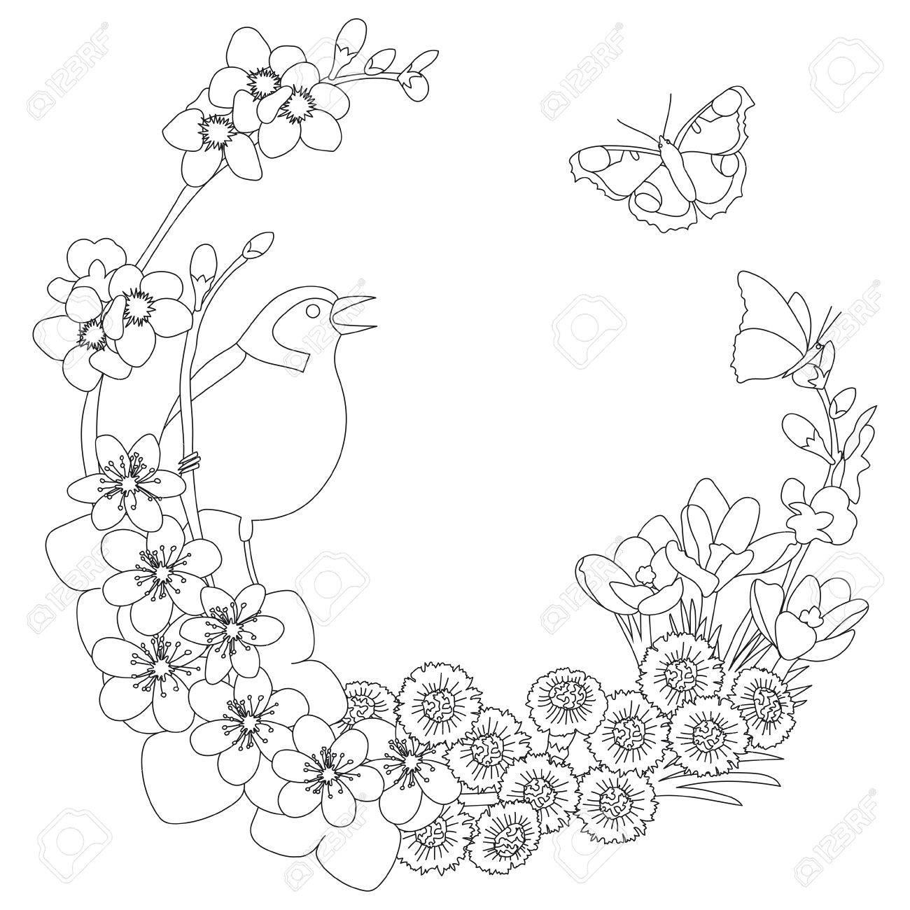 Frühling Blumen Umriss Eleganten Runden Umriss Kranz Färbung Seite ...