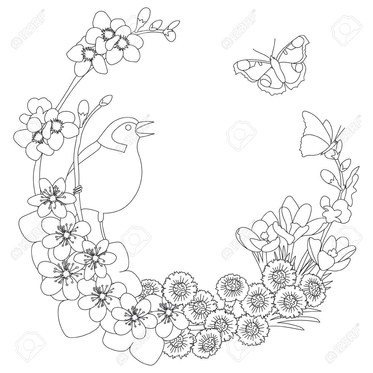 spring floral outline elegant round outline wreath coloring page decoration stock vector 84740701 - Wreath Coloring Page