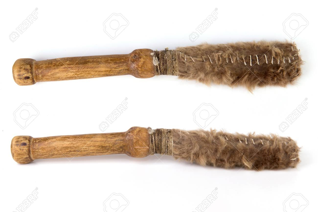 Beautiful copy of old vintage beater drumstick isolated on white Stock Photo - 93857800