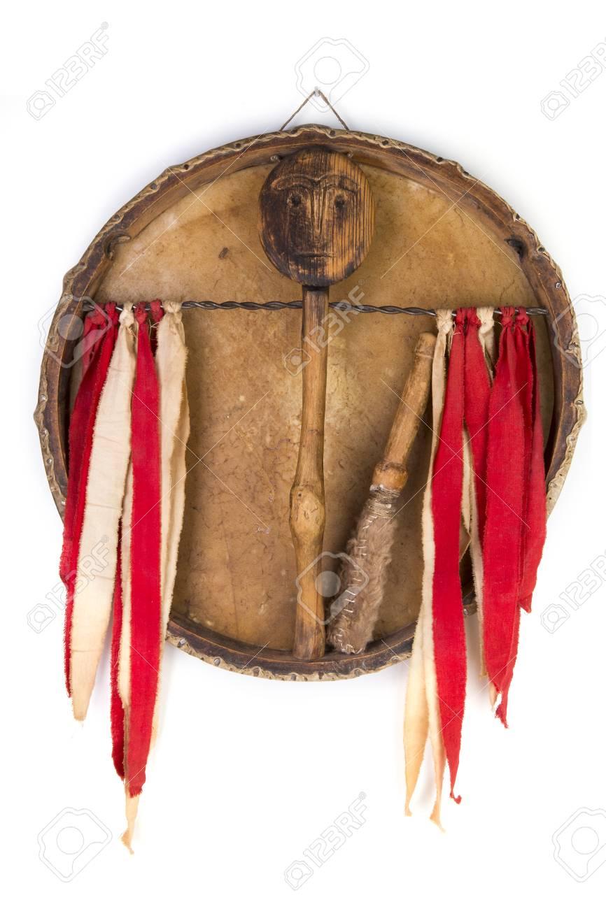 Ancient indian tambourine drum drumstick replica Stock Photo - 93933677
