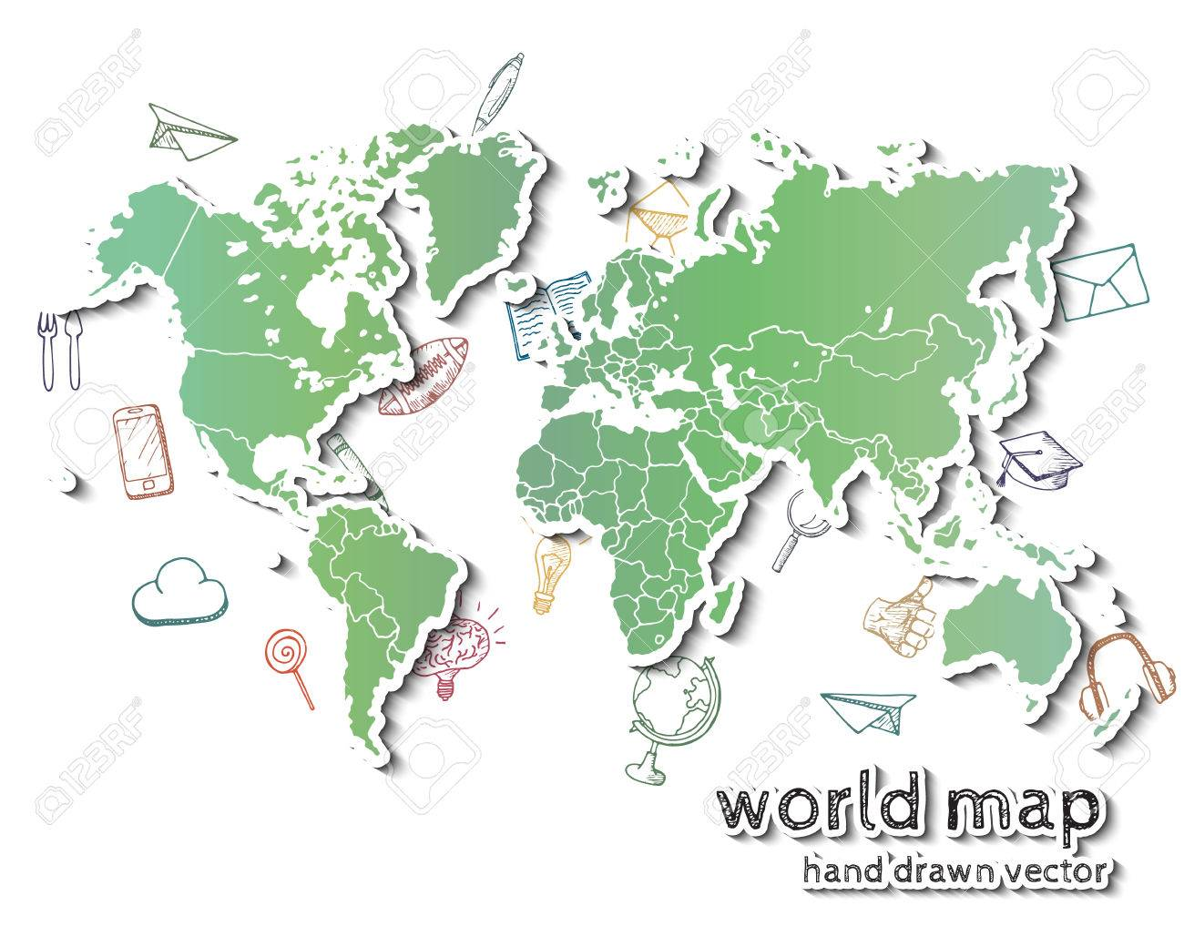 Hand drawn realistic world map concept with doodle icons royalty hand drawn realistic world map concept with doodle icons stock vector 47429072 gumiabroncs Choice Image