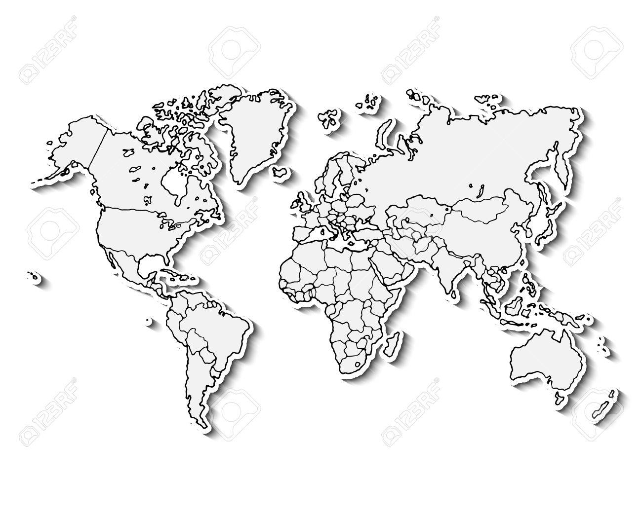 Hand drawn realistic world map. Concept with doodle icons.
