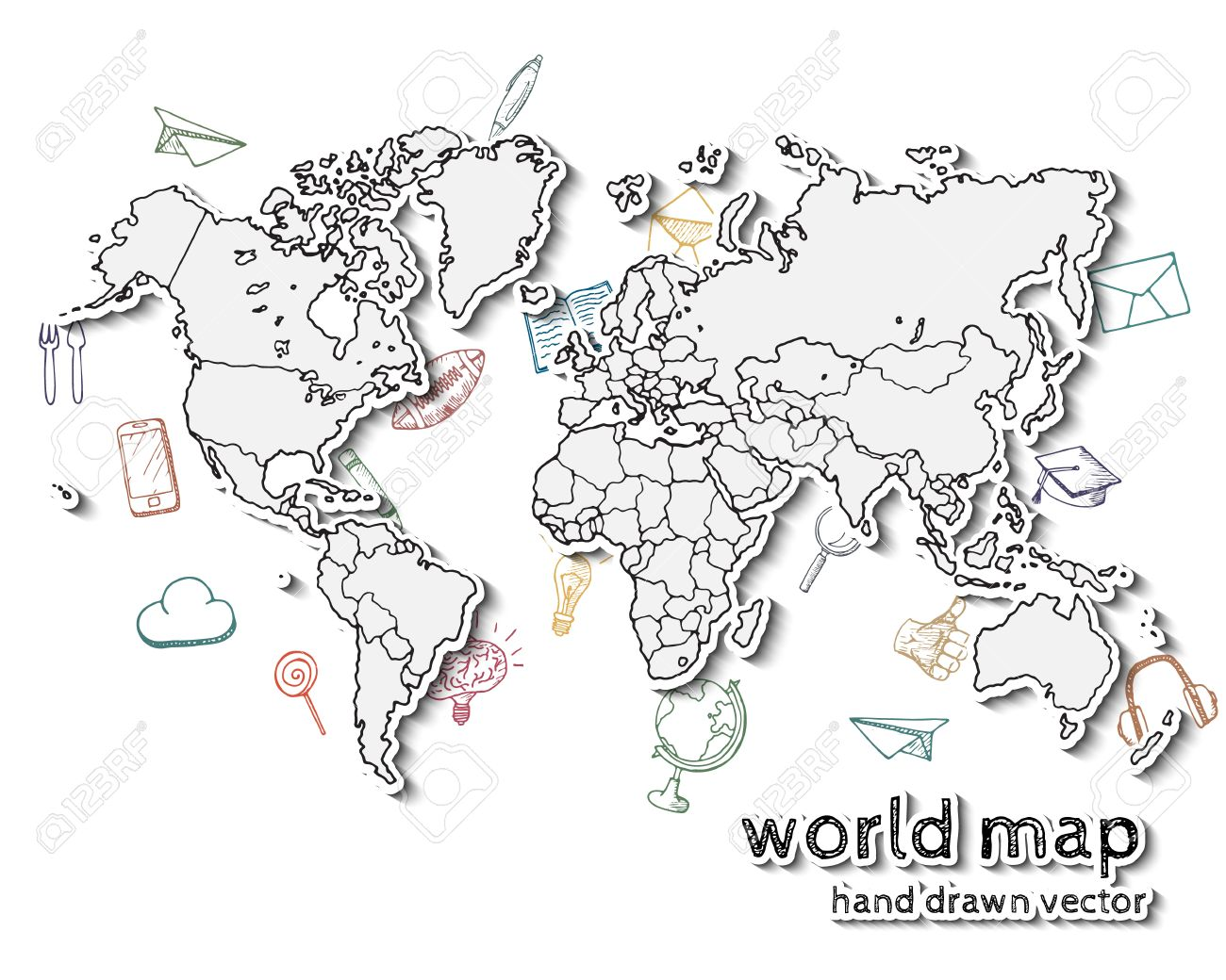Hand Drawn Realistic World Map. Concept With Doodle Icons. Royalty ...