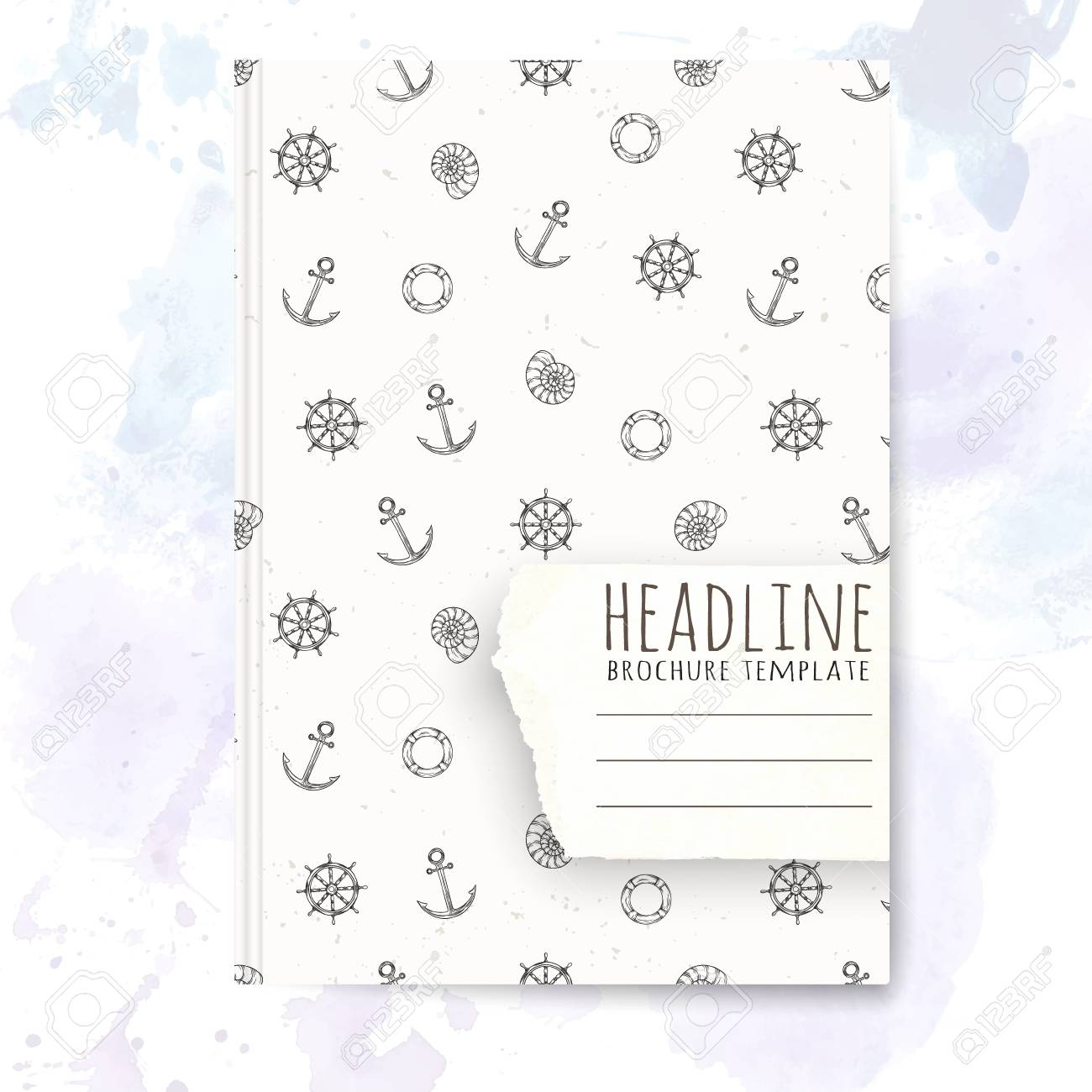 Notebook Template With Hand Drawn Sea Vacation Doodles Vector