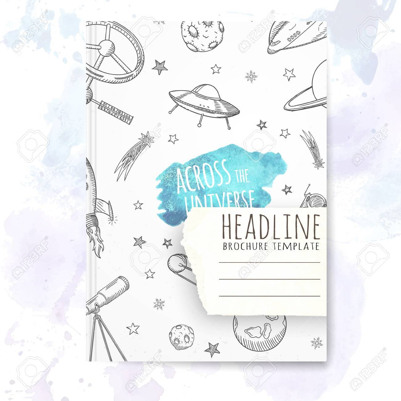 Notebook Template With Hand Drawn Astronomy Doodles Vector Editable