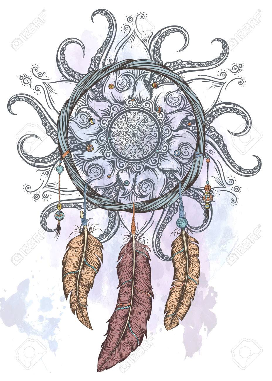 Dream catcher hand drawn vector illustration with abstract mandala. - 58393191