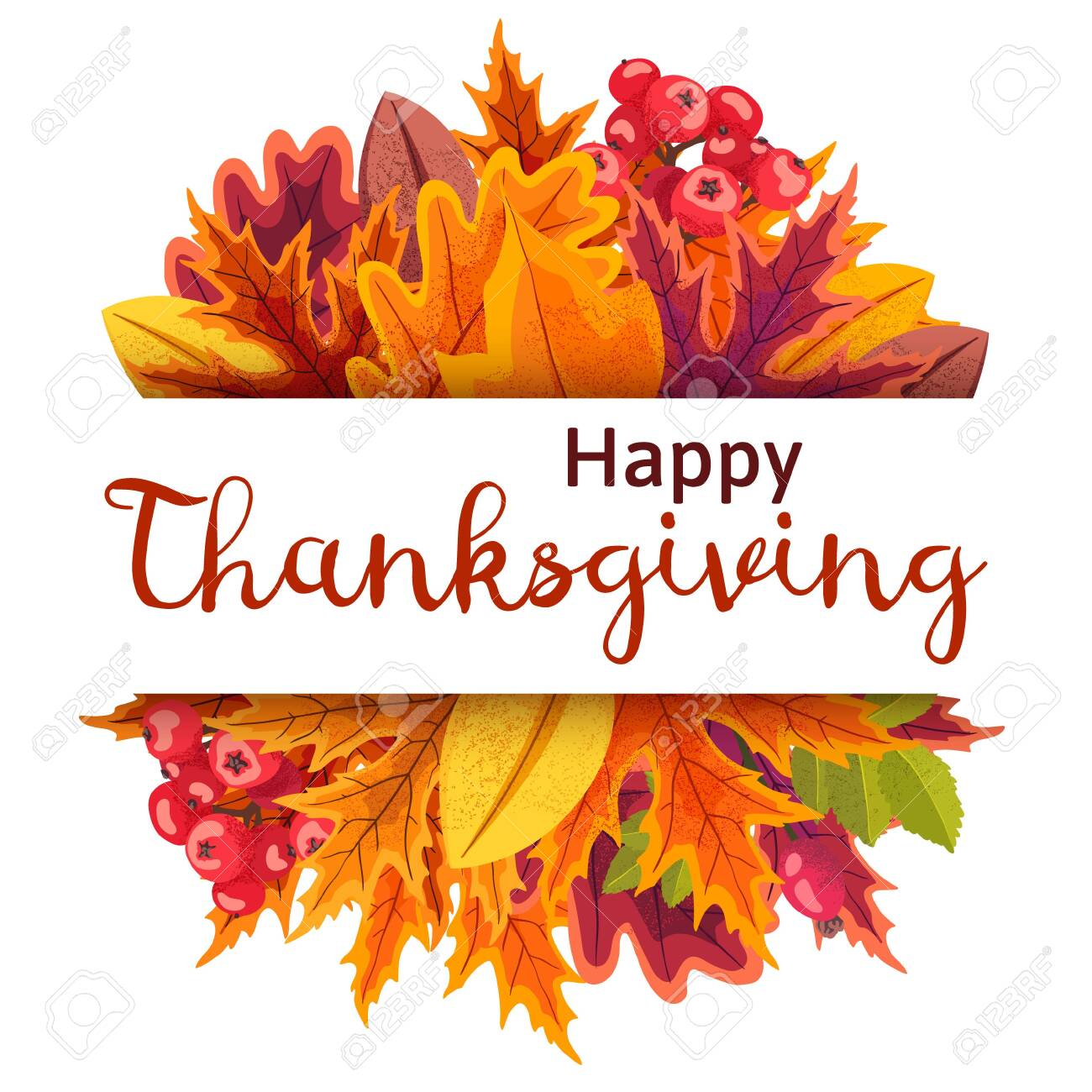 Happy Thanksgiving background with stylized autumn leaves. - 131963491