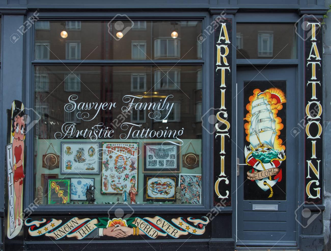 Tattoo Shop In Street Of Amsterdam