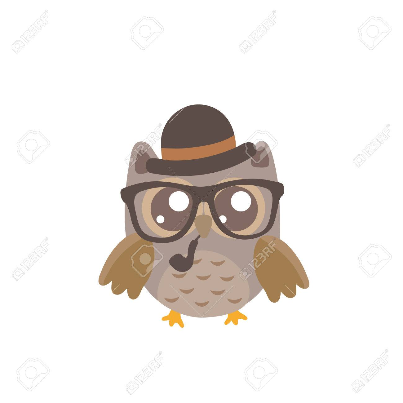 baby owl with glasses cartoon character icon isolated background rh 123rf com cute baby owl cartoon baby owl cartoon images