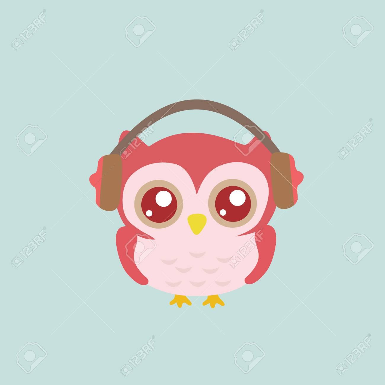 Owl wearing headphones. Stock Vector - 61203625 42451cc16173