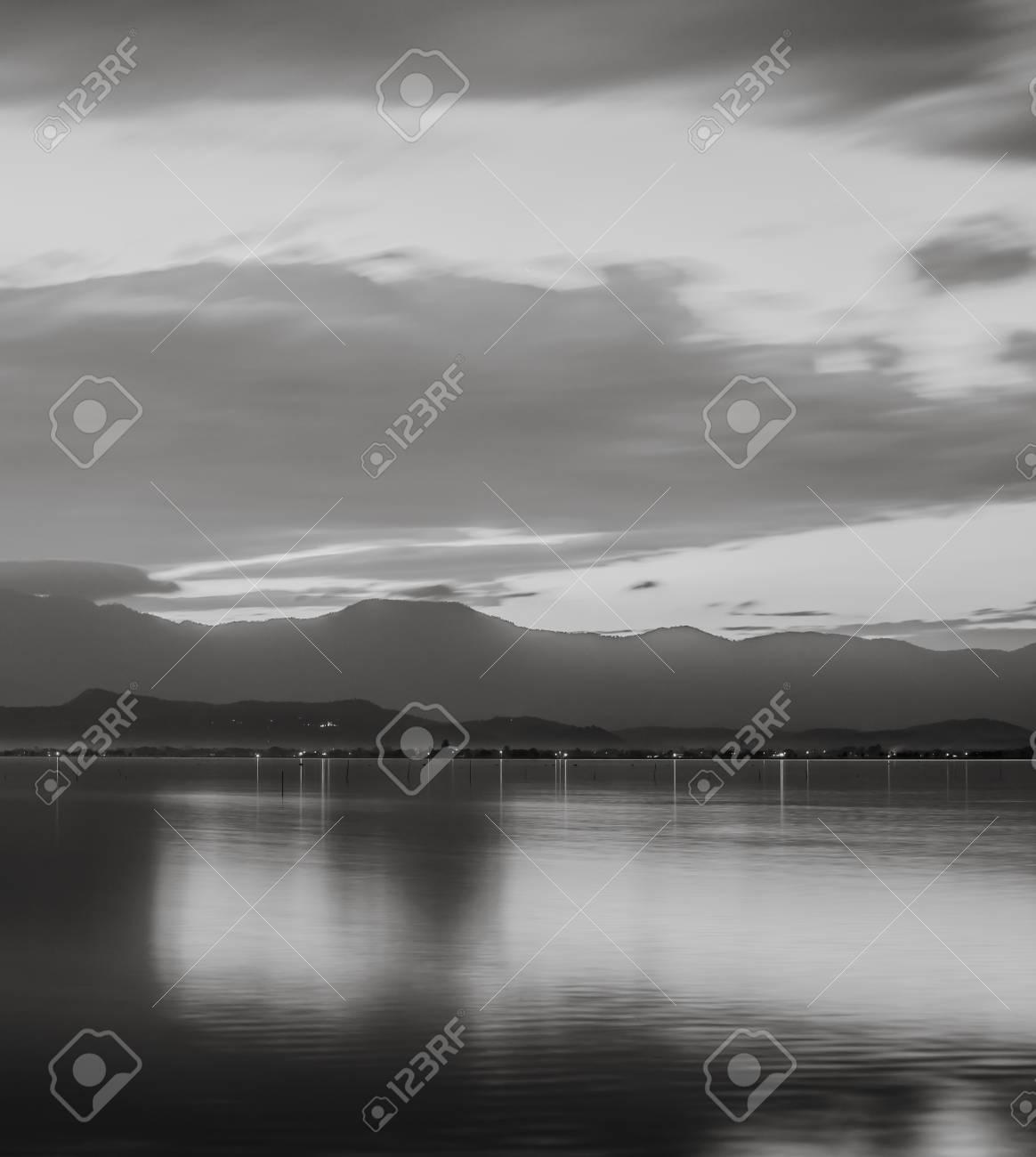 Beautiful long exposure black and white minimalist scene