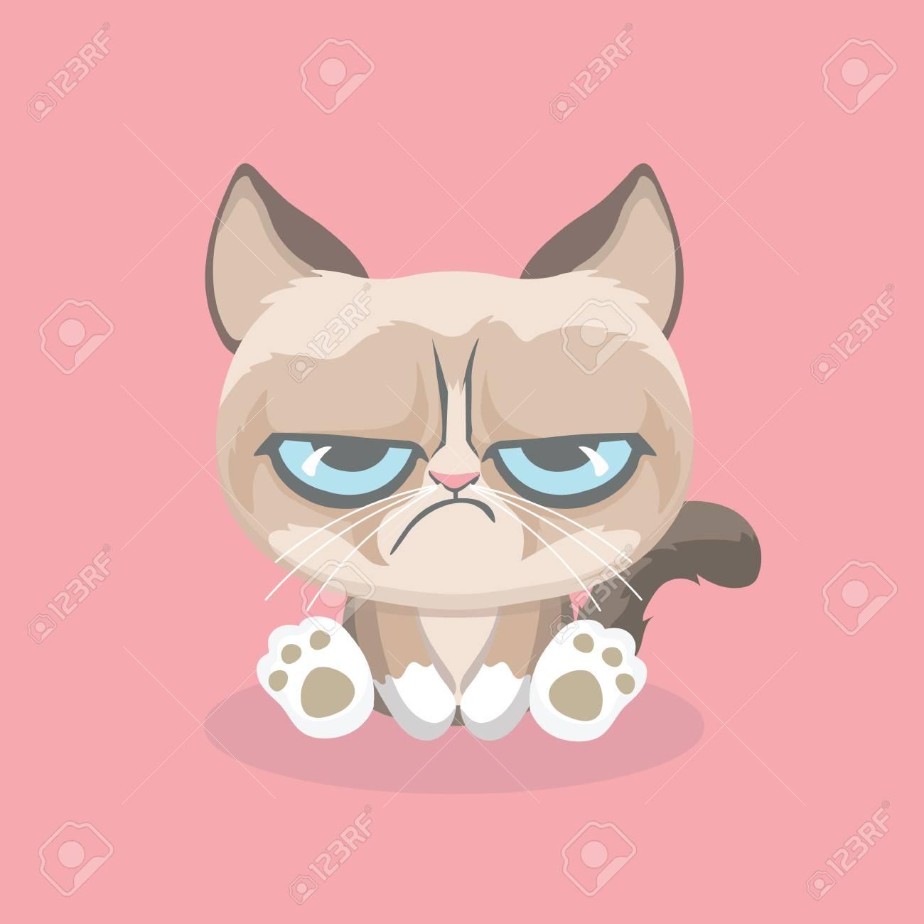 Cute grumpy cat. Vector Illustration. - 102215711