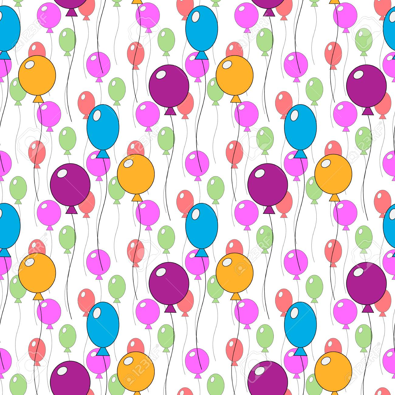 Seamless Pattern Of Different Colorful Cute Balloons Design For Happy Birthday Party Baby