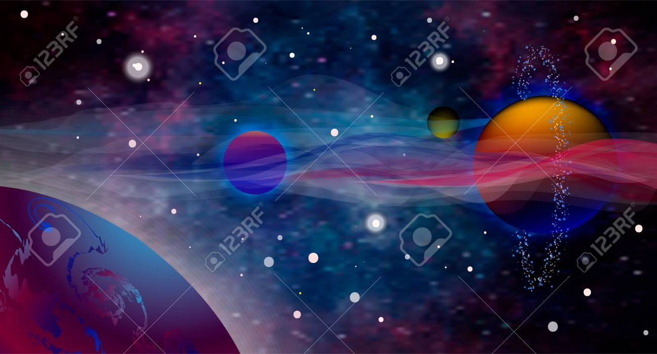 A Vector Realistic And Futuristic Space Background Open Stock