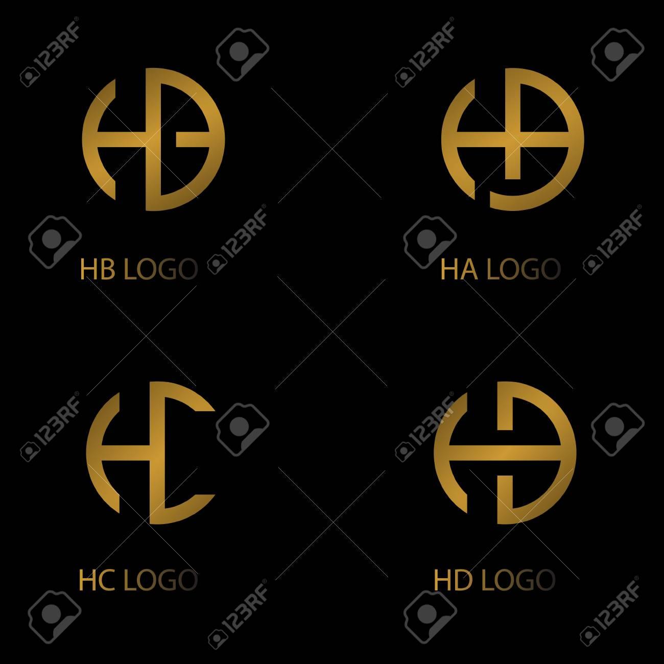 set letter logo, HA HB HC HD letter logo, company logo. - 115933172