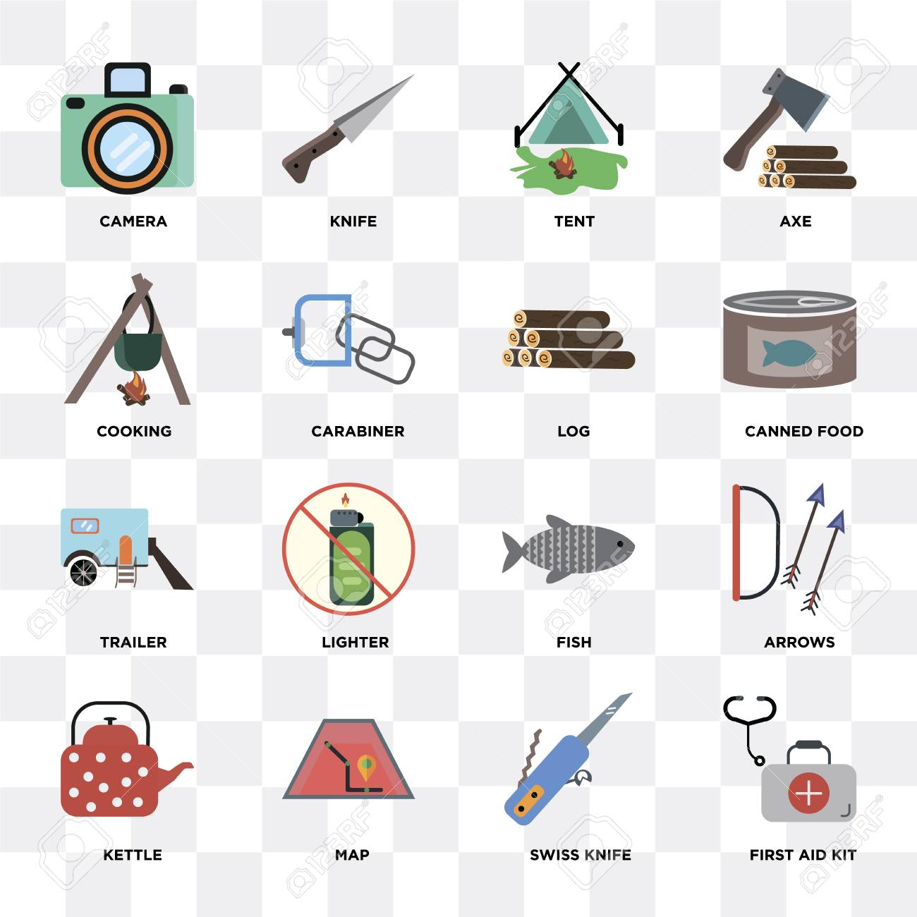 Set Of 16 icons such as First aid kit, Swiss knife, Map, Kettle,
