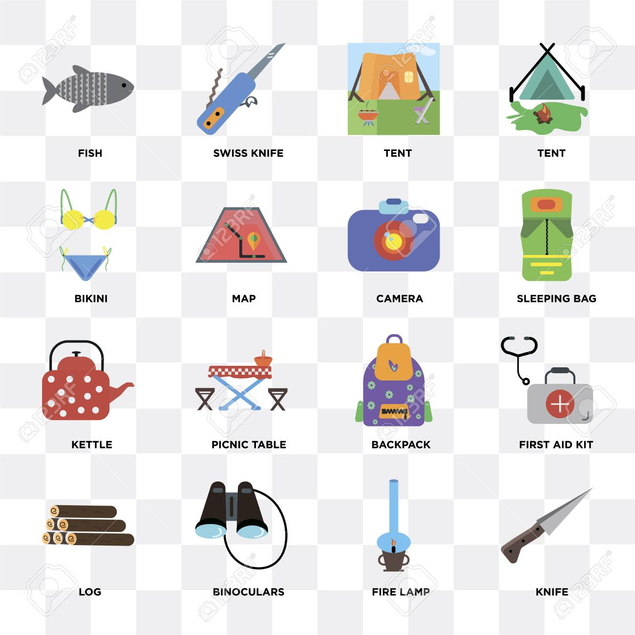 Set Of 16 icons such as Knife, Fire lamp, Binoculars, Log, First