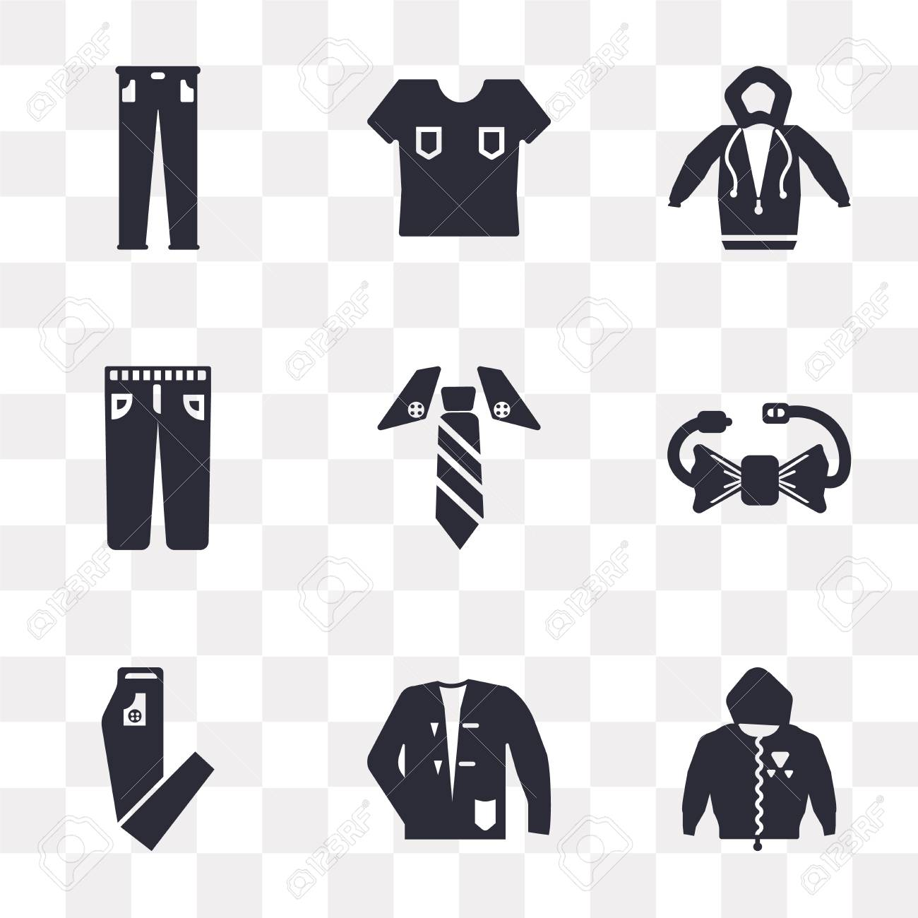 3afb6cf622ab3 Set Of 9 simple transparency icons such as Hoodie, Coat, Pants,..