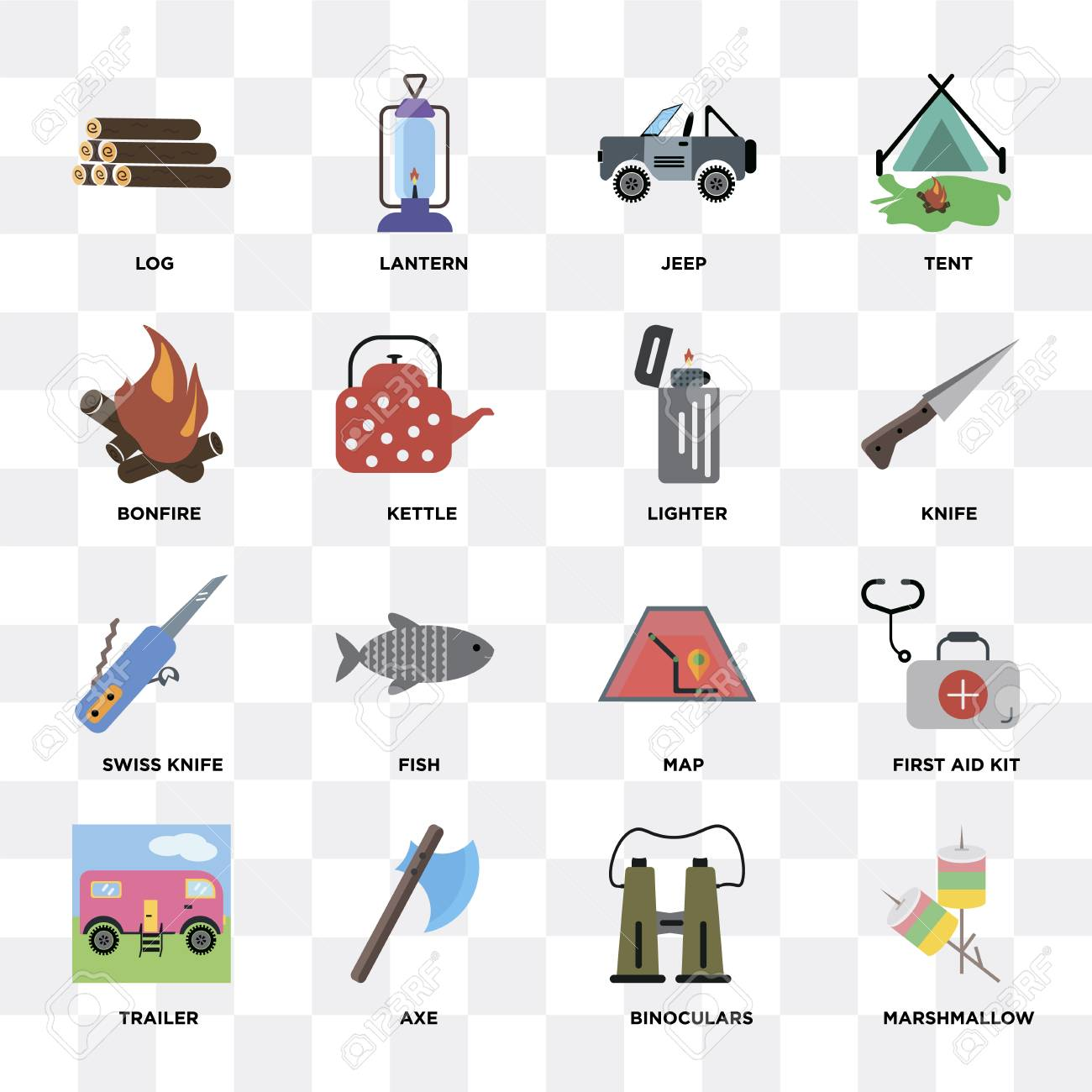 Set Of 16 icons such as Marshmallow, Binoculars, Axe, Trailer,