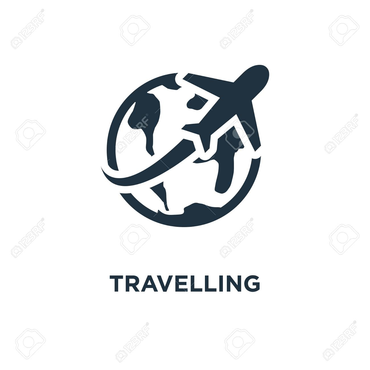 Travelling Icon. Black Filled Vector Illustration. Travelling.. Royalty  Free Cliparts, Vectors, And Stock Illustration. Image 112277034.