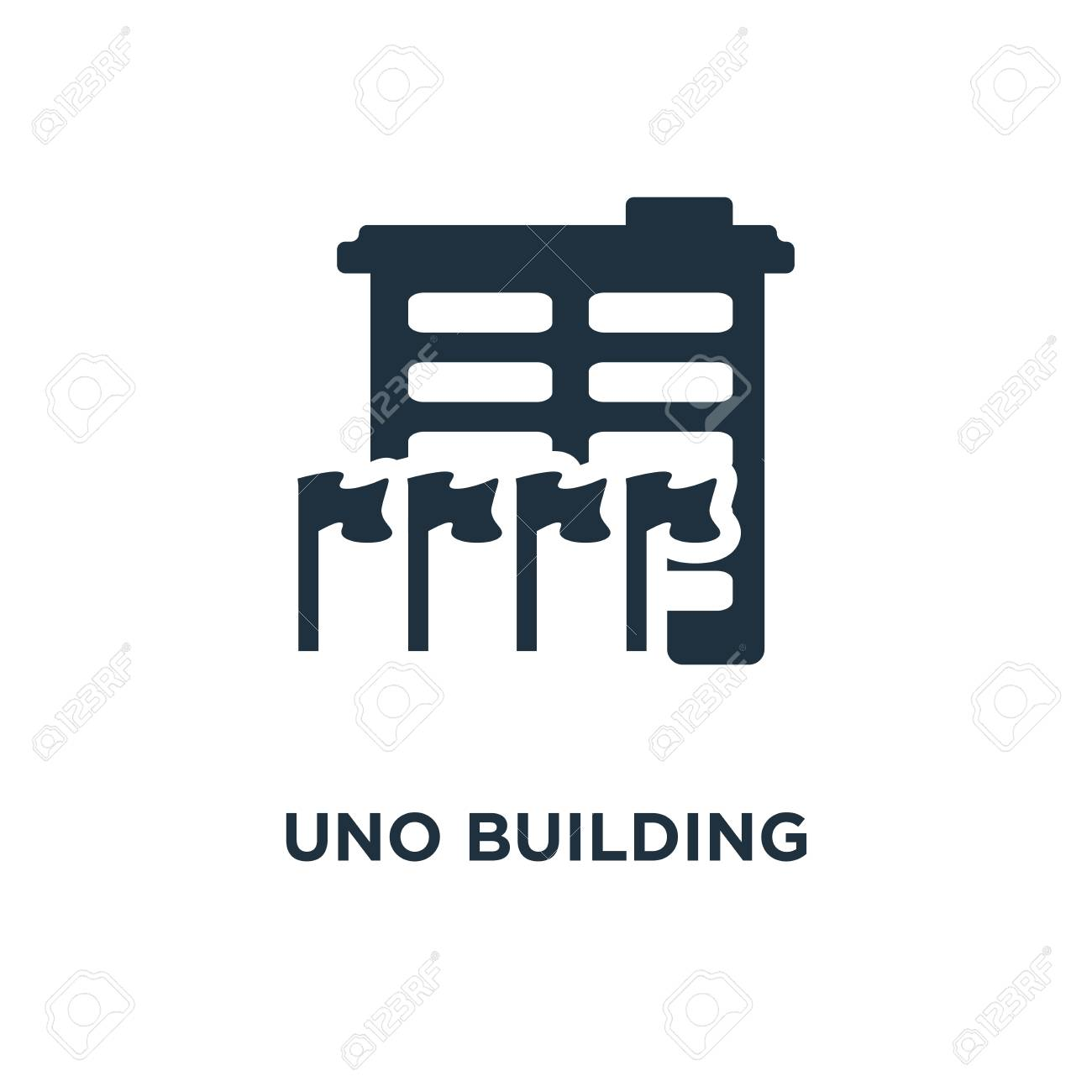 UNO Building icon. Black filled vector illustration. UNO Building symbol on white background. Can be used in web and mobile. - 112278184