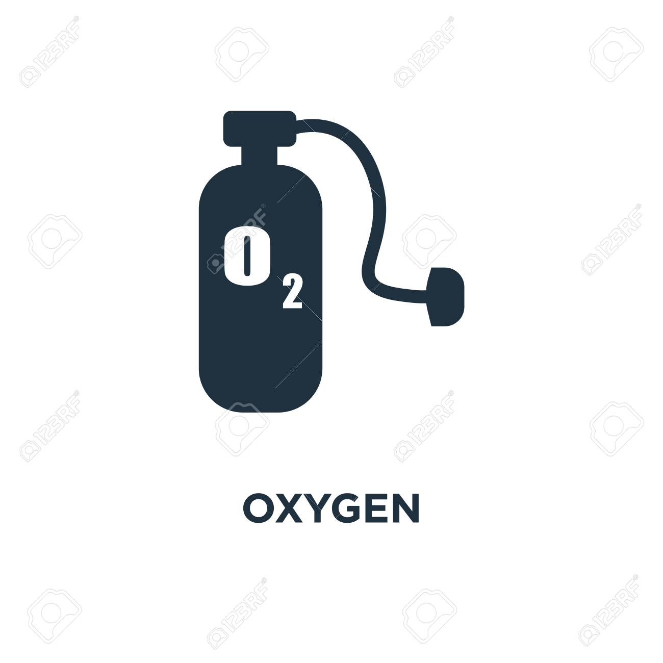 Oxygen icon. Black filled vector illustration. Oxygen symbol on white background. Can be used in web and mobile. - 112279578