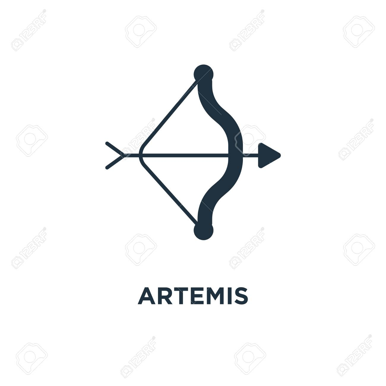 Artemis icon. Black filled vector illustration. Artemis symbol..