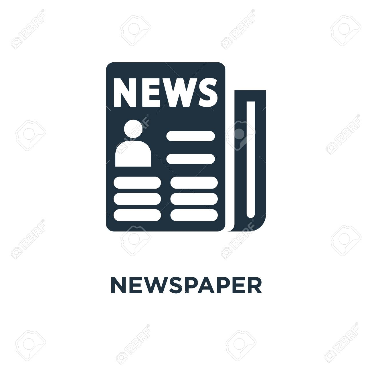 newspaper icon. black filled vector illustration. newspaper symbol