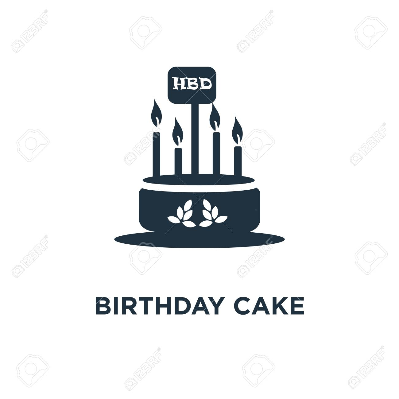 Birthday Cake Icon Black Filled Vector Illustration Symbol On White Background