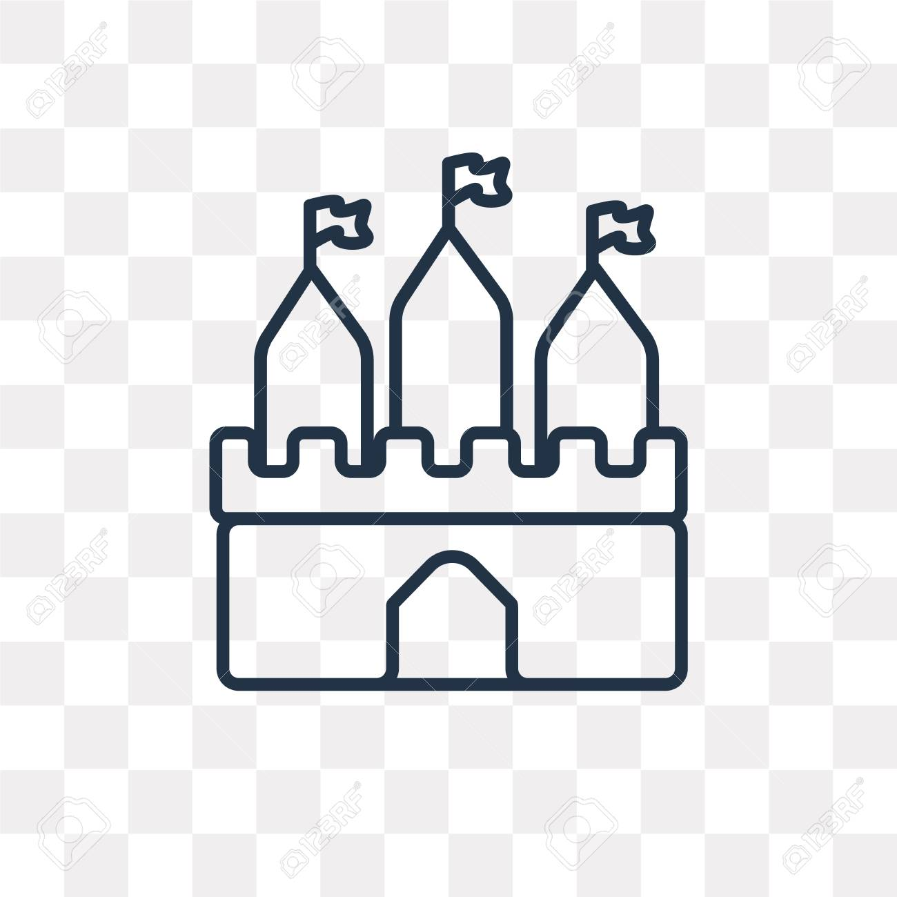 Castle Vector Outline Icon Isolated On Transparent Background