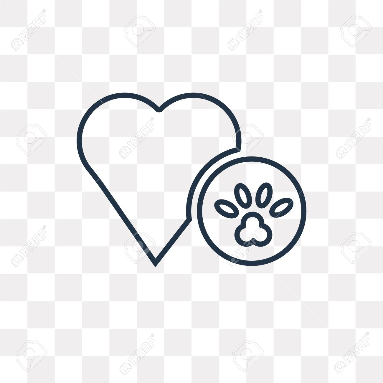 Dog Pawprint vector outline icon isolated on transparent background,