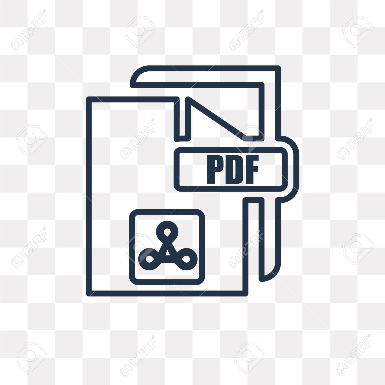 Pdf Vector Outline Icon Isolated On Transparent Background High