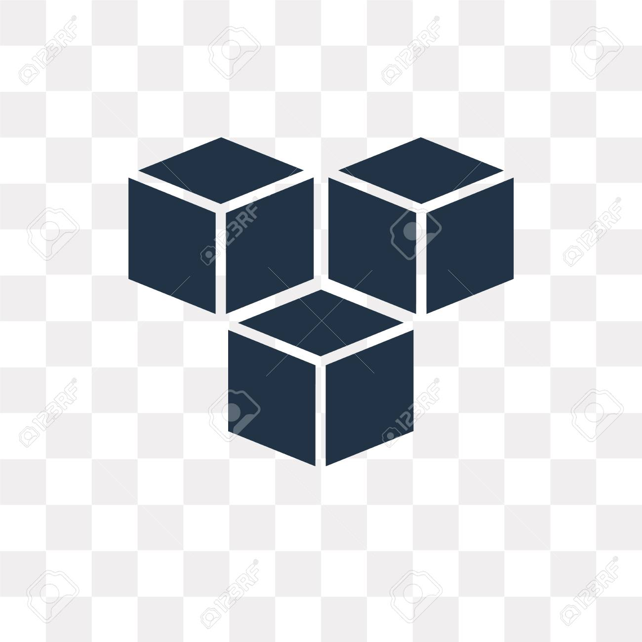 Cube vector icon isolated on transparent background, Cube transparency