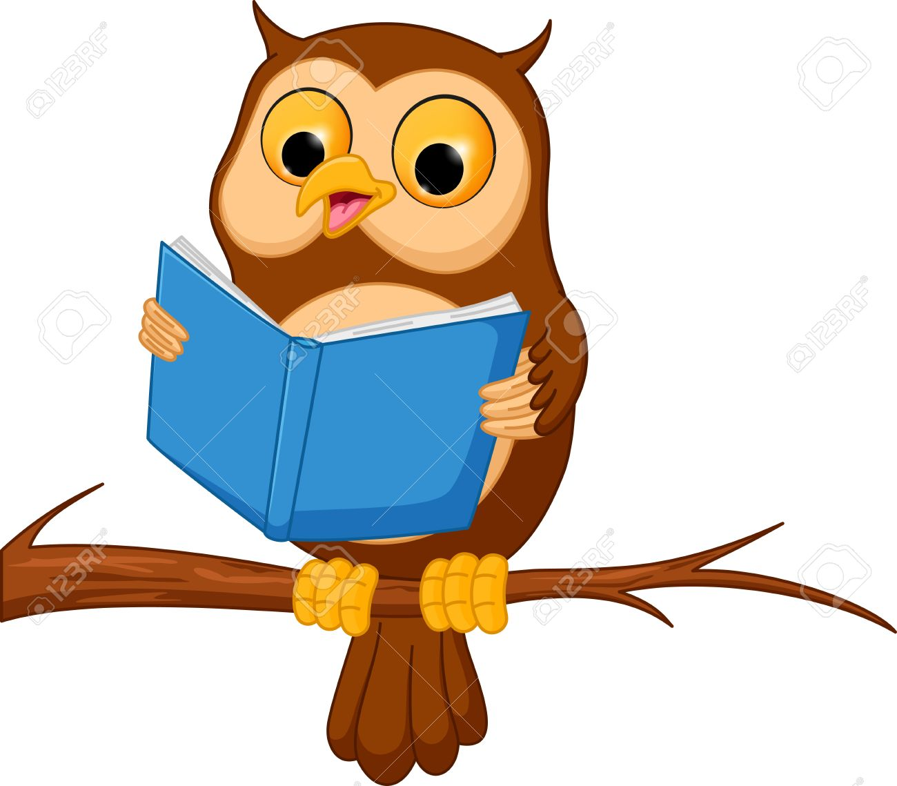 owl cartoon reading a book royalty free cliparts vectors and stock rh 123rf com