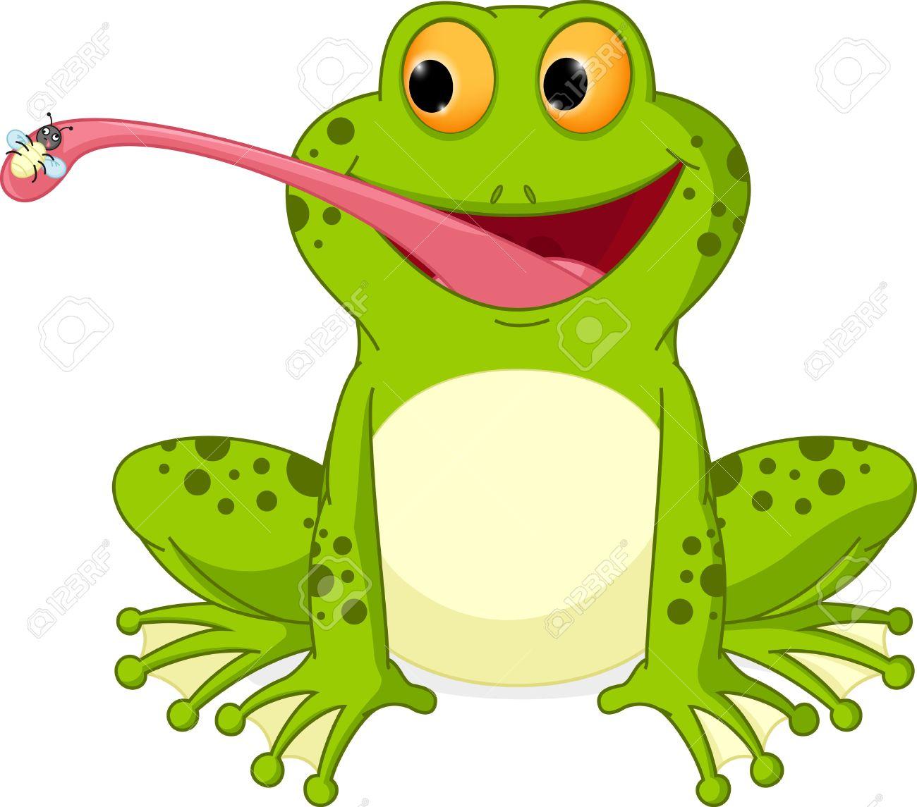 Glückliche Frosch Cartoon Fang Fly Lizenzfrei Nutzbare