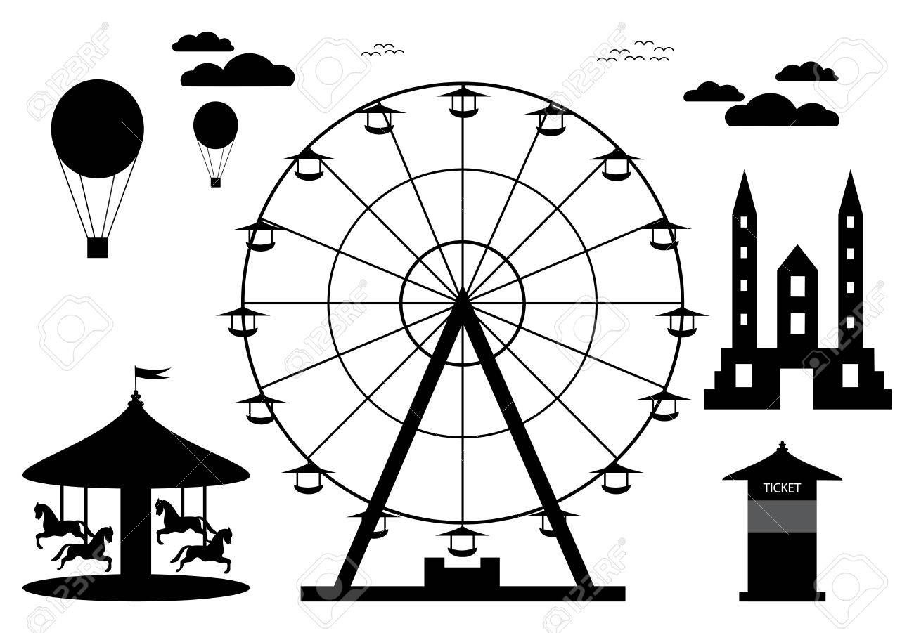 Amusement Park Element With Ferris Wheel Royalty Free Cliparts Vectors And Stock Illustration Image 60440622