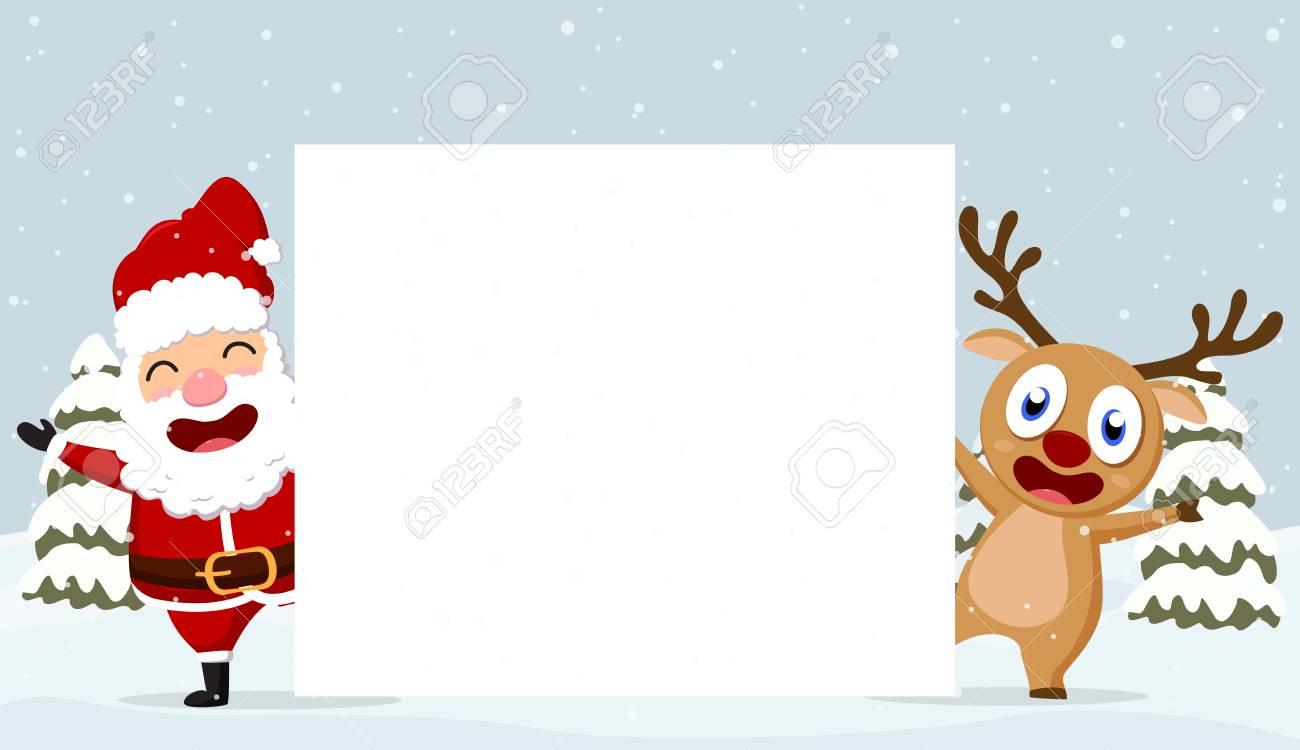 Weihnachten Weihnachtsmann Rentiere Und Schneemänner Hintergrund ...