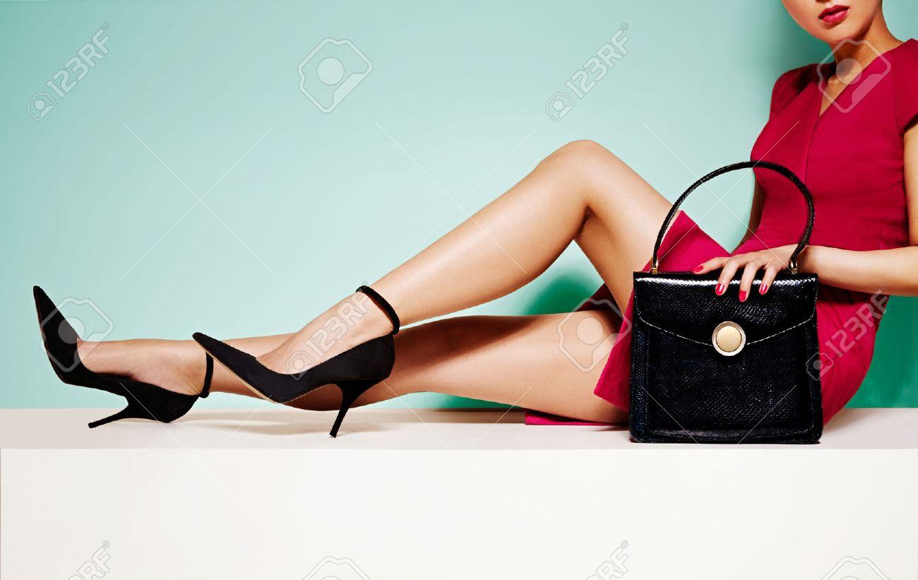 High Heels Shoes And Handbag.. Stock