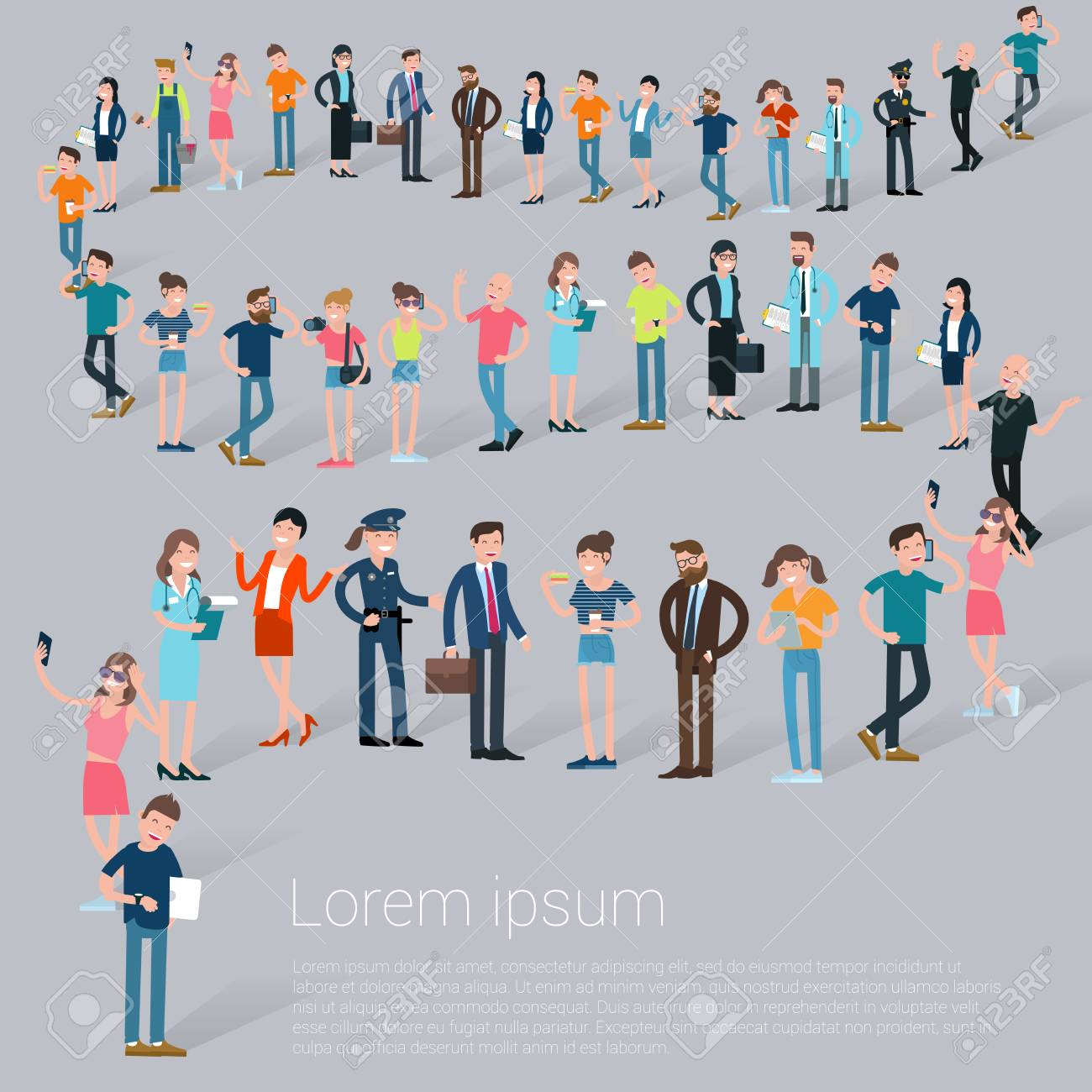 flat design croud of people waiting in line vector presentation