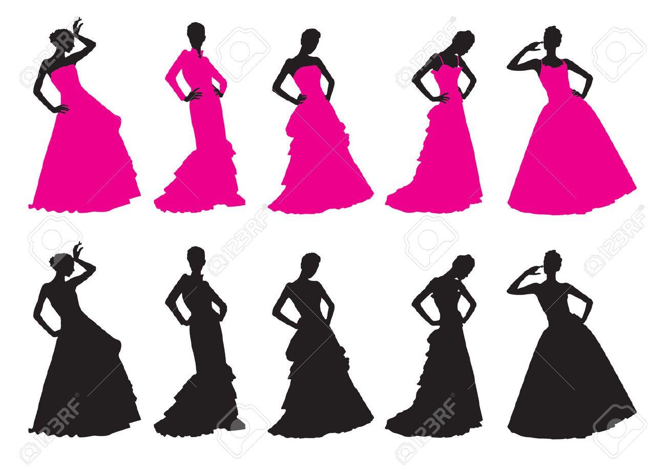 Siluetas De Las Niñas En Vestidos De Novia Ilustraciones Vectoriales ...