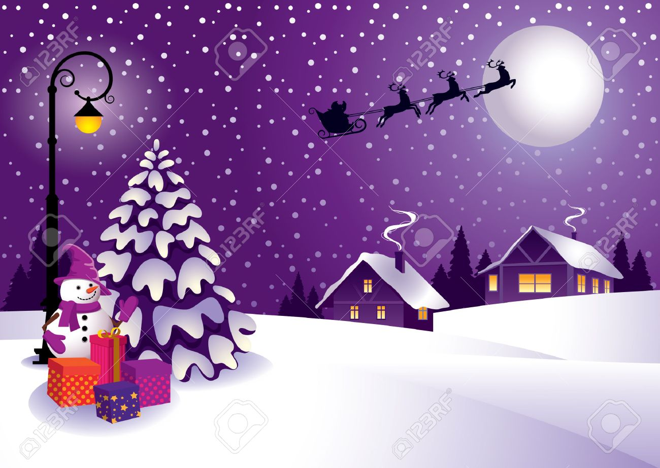 Winter Christmas Landscape In A Country Style. Royalty Free Cliparts ...