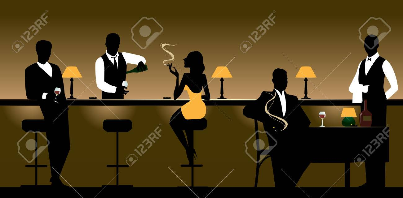Men and women who rest in the night bar. Stock Vector - 8380306