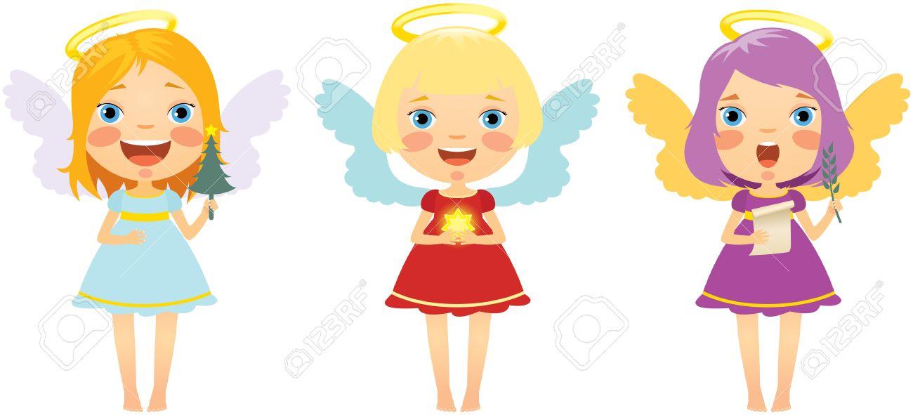 Three merry little Christmas angel Stock Vector - 11173160