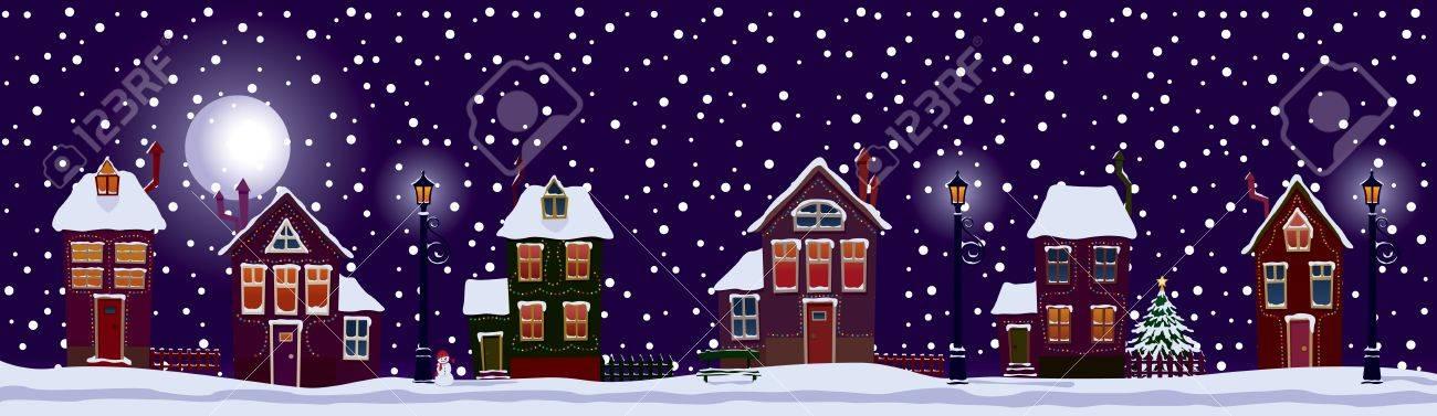 Festive street of the city on Christmas night. Stock Vector - 11173183
