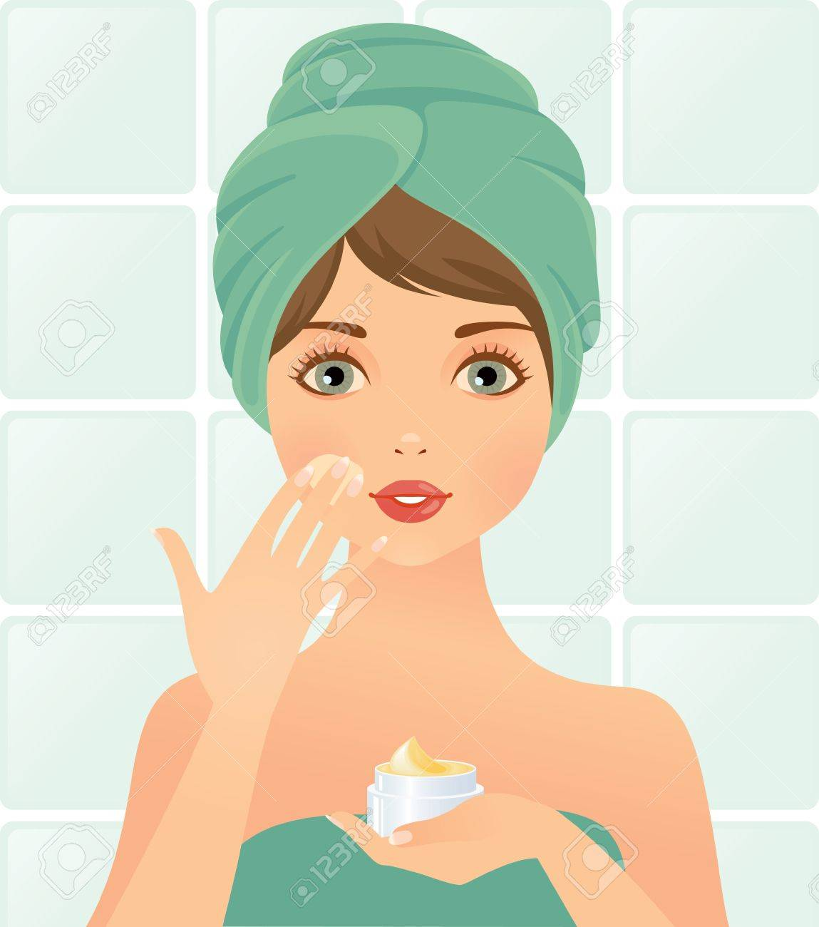 girl takes care of the skin Stock Vector - 14238437