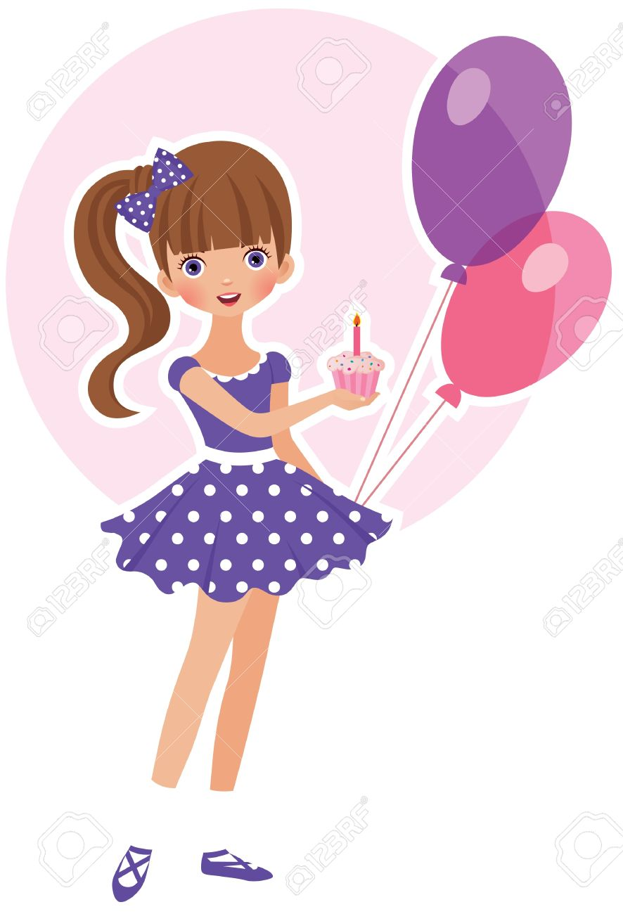 Sweet girl with a cake for his birthday Stock Vector - 14573327