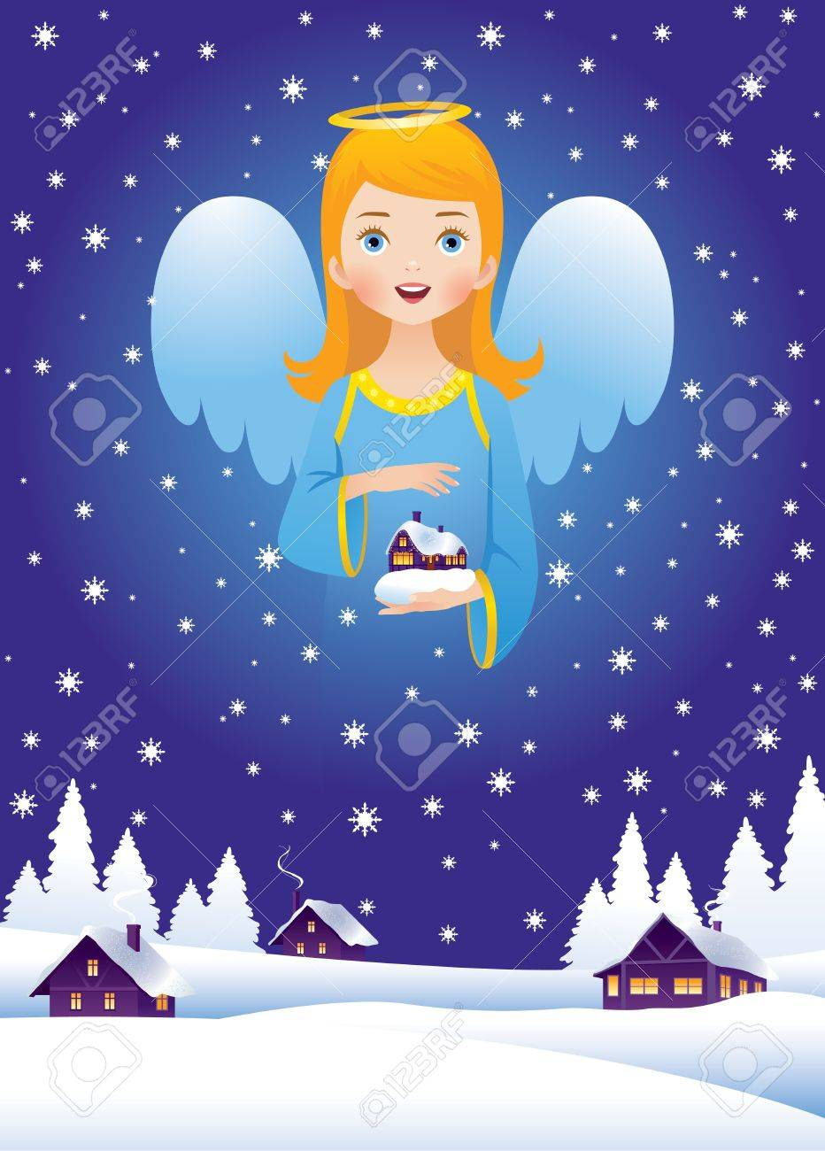Christmas Eve and the angel in the sky Stock Vector - 15952380