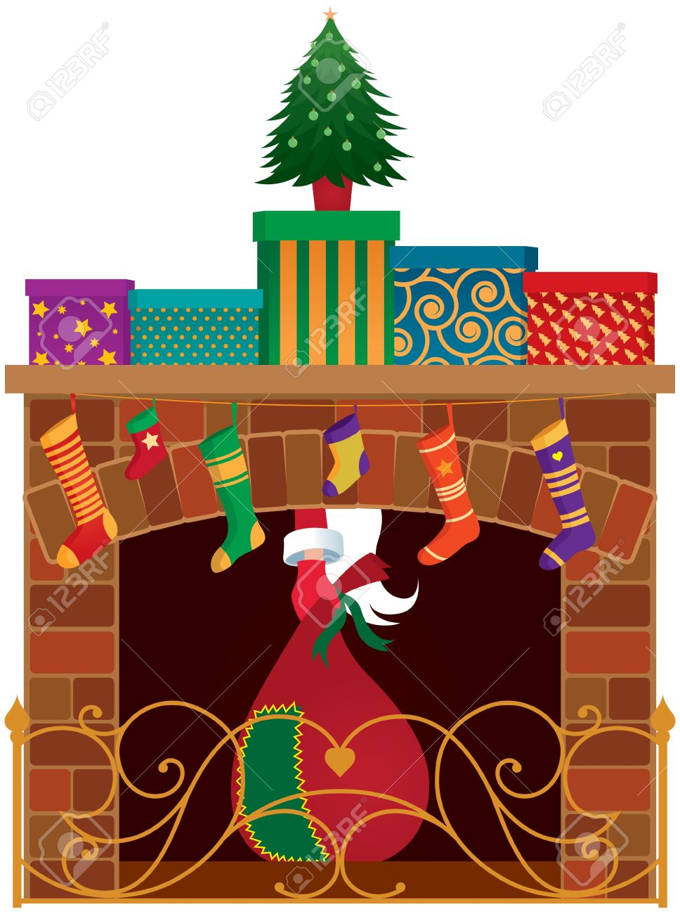 christmas fireplace gifts and santa claus royalty free cliparts