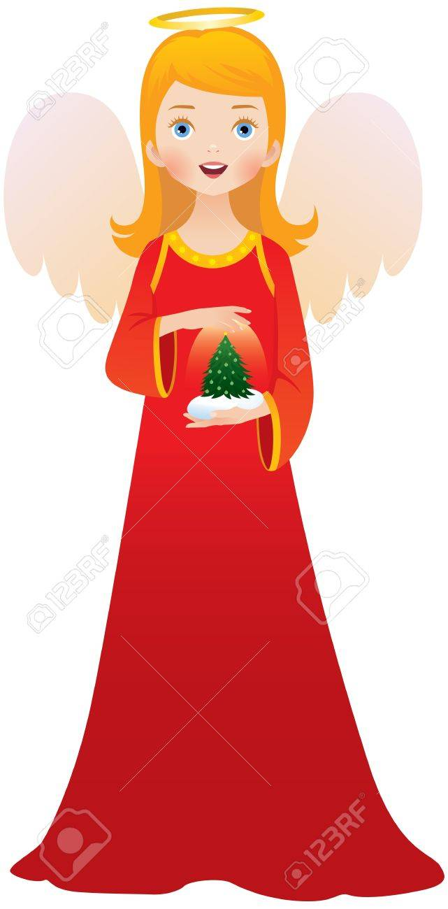 Christmas angel in red dress Stock Vector - 15952217